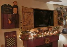 primitive colonial rustic tv cabinet by salmonfallsprims on Etsy, $350.00