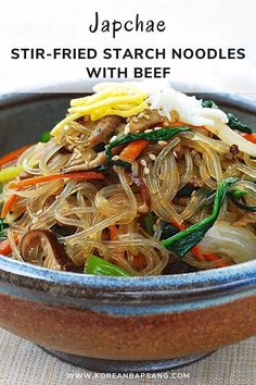 Made with bouncy sweet potato starch noodles, japchae (or chapchae) is a classic dish everyone loves! Find out how to make authentic, delicious japchae with this time tested, readers' favorite recipe! #noodles #starch #beef #dinner #dinner #koreanrecipe #koreanbapsang @koreanbapsang | koreanbapsang.com Asian Recipes, New Recipes, Dinner Recipes, Cooking Recipes, Favorite Recipes, Dinner Ideas, Hawaiian Recipes, Potluck Recipes, Fast Recipes