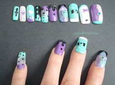 pastel goth 3d unghie finte japan style press on nail art unghie artificiali halloween lavanda rosa verde lolita squadrate lasoffittadiste