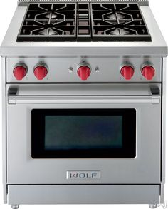 """Wolf GR304X 30"""" Pro-Style Gas Range with 4 Dual-Stacked Sealed Burners, 4.4 cu. ft. Convection Oven, Infrared Broiler, Red Control Knobs and Island Trim"""