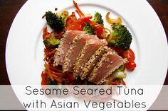 Creatively Delish | Seared Sesame Ahi Tuna with Asian Vegetables | http://creativelydelish.com
