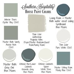 Our House Paint Colors - Southern Hospitality Paint colors that flow in shades of gray, green, and blue. Interior Paint Colors, Paint Colors For Home, Nautical Paint Colors, Peacock Paint Colors, Beachy Paint Colors, Magnolia Paint Colors, Coastal Colors, Neutral Paint, Gray Paint