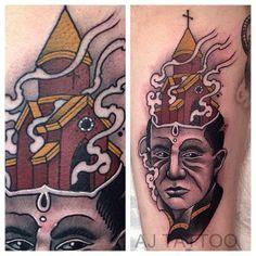 Burning church tattoo by Aaron Ashworth.