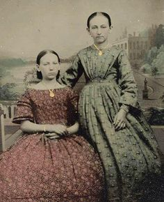 Women of the Civil War. The dress on the left reminds me of Darla's in neckline. I wonder how common the bare-shouldered look was in daytime, when the portrait seems to have been made? The green dress reminds me of one of Dru's gowns.