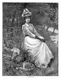 Victorian Clipart: Young Lady Resting on a Fine by VictorianTrends
