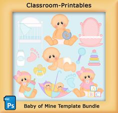 Baby of Mine Template Bundle. Clipart Templates for Scrapbooking, Digital Scrapbooking, Clipart, Creating Cards  Printables. Comes PSD Format For Use in Photoshop and Graphics Programs