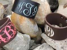 Monogrammed Leather Cuff Bracelet by TheKMACreations on Etsy, $19.95