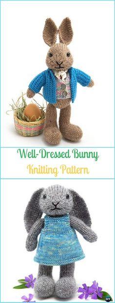 Knitted Dolls Dress Pattern, Unicorn Knitting Pattern, Baby Boy Knitting Patterns, Knitting Paterns, Free Knitting, Knitting Projects, Baby Knitting, Crochet Dolls, Knitted Bunnies