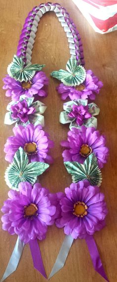Purple, gray & gold color leis