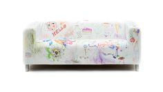 The white DY MARKERS sofa slipcover is a canvas to be filled ideas, doodles or messages. Just give it a wash and start with a clean sheet again. Ikea Klippan Sofa, Clean Sheets, Sofa Covers, Slipcovers, Markers, Canvas, Pattern, Furniture, Design