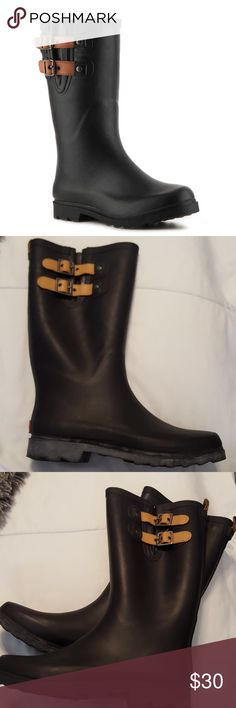 """Chooka Tall Black Rain boots FEATURES Waterproof rubber and faux leather upper Adjustable buckle strap details with expandable insert Heel loop tab 10"""" shaft height,  pull on14"""" leg opening Round toe Fabric lining Removable insole1?"""" molded block heel Rubber sole Imported  Excellent condition Shoes Winter & Rain Boots"""