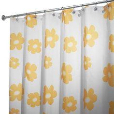 InterDesign Poppy Shower Curtain, Yellow, 72-Inch by 72-Inch