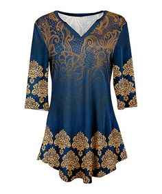 Look what I found on #zulily! Gold & Blue Arabesque V-Neck Tunic - Plus Too #zulilyfinds