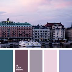 Green and blue, brown and pink, gray-blue, pink and gray, muted gray color palette make up the waterfront lit morning or evening sun. In the morning light shades will be colder, pinkish, and before sunset - a warm, golden. This color scheme can be used in the design of the exterior of a private house, cottage,