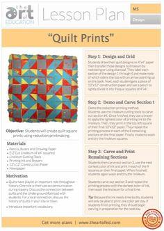 Quilt Prints Reduction Print -  Lesson Plan Download