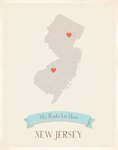 New Jersey Roots Map 11x14 Customized Print by MyRoots on Etsy, $40.00