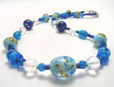 Blue Art Bead Necklace  Handmade Necklaces by SwankyJewels on Etsy - 34 euro