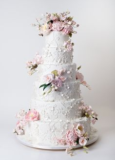 Textured Lace & Sugar Flowers - soft colors and neutral blush pink Ron Ben-Israel Cakes | Reverie Gallery