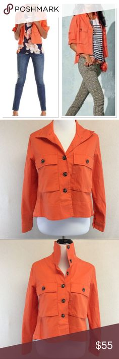 """XS CABI 5098 resort jacket tiger lily orange Brand: CAbi  Style: 5098 resort jacket in tiger lily orange  Size: XS Approximate Measurements: PIT TO PIT 18.5"""" shoulder to hem 19.5""""-22"""" Material: 97% cotton 3% spandex Features: button flap pockets, Button cuff sleeves Condition: excellent pre-loved CAbi Jackets & Coats"""
