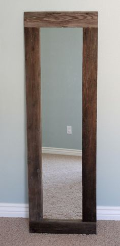 creatively christy: DIY Reclaimed Wood Framed Mirror - love this, need some wood from Karen's!