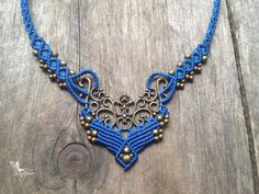 Micro macrame necklace elven jewelry blue by creationsmariposa, $53.00