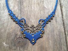 Collier micro macramé elfique bleu bijoux boho collier macramé  tissé à la main gypsy bohémien micro-macramé sur Etsy, $52.00 CAD
