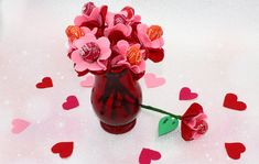 Make your own sweet bouquet this Valentine's Day with these unique felt lollipop flowers! Honey Packaging, Mason Jar Vases, Gift Card Balance, Green Glitter, Felt Hearts, Valentine Decorations, How To Make Paper, Valentines Diy, Felt Flowers