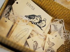 Nature-inspired wishing cards for the guests. Photography courtesy of Tani McInnis Photography.