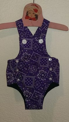 Deep purple bandana print vintage inspired rockabilly baby romper / sunsuit