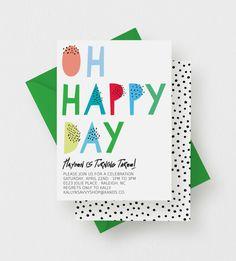 Oh Happy Day Party Invitation  Birthday Party Baby by kandsdotco