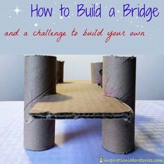 How to Build a Cardboard Bridge and the Challenge and Discover link up. We challenge you to build a bridge with your kids and share what you did! I know im gonna need this on a team building challenge one day! Steam Activities, Science Activities, Activities For Kids, Crafts For Kids, Science Books, Science Experiments, Computer Science, Stem Projects, Science Projects