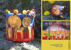 "Арт-браслет ""Впечатление по Хундертвассеру №7"" . Bracelet ""Impression on the Hundertwasser №7"", made of copper, wool, beads and beads, handmade."