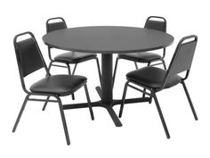48 Inch Round Table and 4 Restaurant Stackers Set - TBR48GYSC29BK