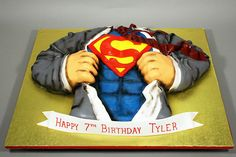 This would be an awesome shower cake!! Instead of it being a guy opening his shirt, have a preggo woman with superman baby coming out!!