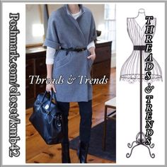 """Wool Cardi Jacket Chic charcoal grey open cardi jacket featuring 2 front pockets, cuffed sleeves and stand up collar. Made of a wool. Belt is not included. Size S/M, bust 39"""" length 31"""", size L/XL bust 40"""" length 32"""". Threads & Trends Jackets & Coats"""