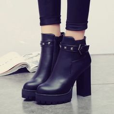 Find More Women's Pumps Information about Spring and autumn single boots female zipper thick high heel ankle boots chelsea boots platform winter women's shoes,High Quality boots 5,China buckle tote Suppliers, Cheap boots office from GengNan store on Aliexpress.com