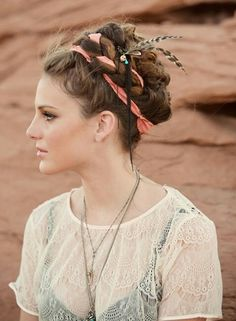 grecian bohemian - I love how her hair is completely up and out of her face but still has the vibe!