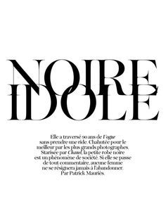 Noir Idole, French Editorial by Patrick Mauries _