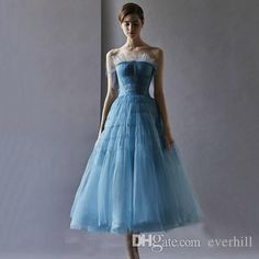 Jane Vini Modest Prom Dresses Ankle Length Short Homecoming Dresses Sleeveless Blue Puffy Tulle Strapless Zipper Back Runway Party Gowns