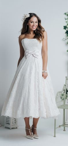 Tea Length Wedding Dress R970 White Rose