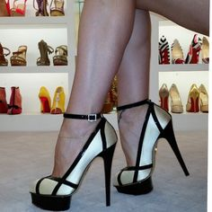 Gorgeous White & Black Platform with Ankle Strap. #shoestore
