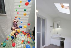 House with Three-Story Slide (15 pics) - Once the kids slide down to the first floor, they can play in the ball pen, which is part of the living room.     My Modern Metropolis
