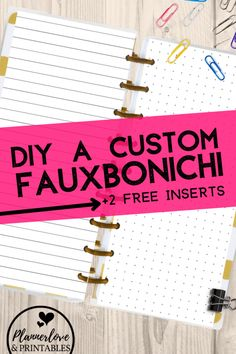 What's a fauxbonichi? A DIY Hobonichi Weeks planner, and you can create one in five steps. Plus, grab 2 free printable inserts on the post! Printable Planner Pages, Free Planner, Blog Planner, Budget Planner, Printable Paper, Planner Stickers, Planner Ideas, Free Printables, Happy Planner Punch