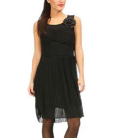 Look at this #zulilyfind! Black Pleated Sleeveless Dress #zulilyfinds