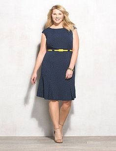 4249b53115c Plus Size Polka Dot Belted Dress Glam Dresses