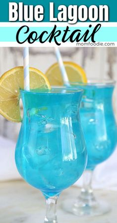 Blue lagoon cocktail easy blue drink recipe these 3 ingredient or less! cocktails are so easy you could memorize them Blue Curacao Drinks, Blue Drinks, Blue Cocktails, Fruity Drinks, Easy Cocktails, Summer Drinks, Cocktail Drinks, Cocktail Tequila, Mix Drinks With Vodka