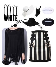"""Life in black and white"" by loadsagifts ❤ liked on Polyvore featuring David & Young, Balmain, Monki and Thelermont Hupton"