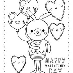 Nod Printable Coloring Page: Valentine's Day