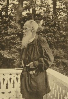 Leo Tolstoy on the Balcony by Tolstaya, Sophia Andreevna (1844-1919)/State Museum of Leo Tolstoy, Moscow/1890s/Albumin Photo/Russia/Portrait  - stock photo