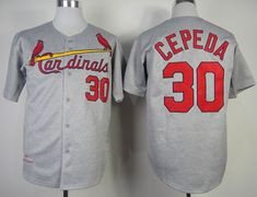 "$23.88 at ""MaryJersey""(maryjerseyelway@gmail.com) Mitchell And Ness 1967 Cardinals 30 Orlando Cepeda Grey Throwback Stitched Baseball Jersey"